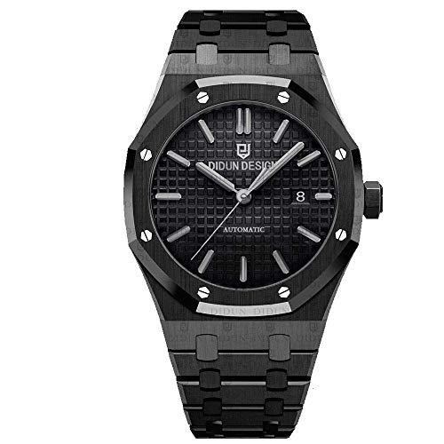 Sportlich Elegante Herren Automatik Uhr, Saphirglas, massives Armband, Miyota Uhrwerk, Didun Royal One Schwarz/Schwarz