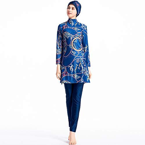 Herr lin123Muslim Bademode für Frauen Mädchen zurückhaltenden Islamische Hijab Surfen Anzug muslimische Burkini Badeanzüge, blau, Large