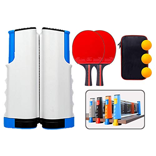 Lowest Price! ZXXY Ping Pong Ball Set, Retractable Table Tennis Nets with 2 Bats/Rackets/Paddles and...