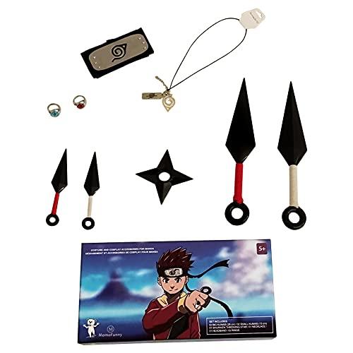 Anime Accessoires et Déguisement De Cosplay Pour Manga Naruto -Kakashi et Akatsuki -Bandeau Konoha -4 Kunais -Ninga Shuriken -2 Bagues Itachi -Collier Avec deux pendentifs -Boite Cadeau Inclus