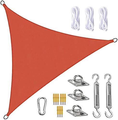 Tela Toldo Sun Shade Sail Canopy Triangle UV Block Impermeable Sun Shade Toldo con Kit De Fijación para Jardín Patio Piscina área De Barbacoa Rojo(Size:5X5X5m/16.4X16.4X16.4ft)