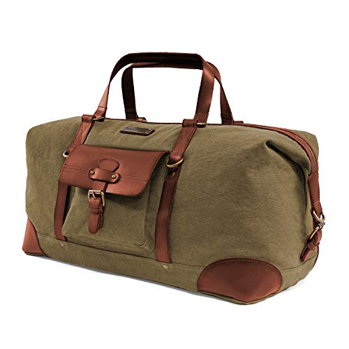 DRAKENSBERG Safari Weekender - Large Travel Bag and Holdall in Vintage Retro Design, Women and Men, Handmade in Premium Quality, 50L, Canvas and Leather, Olive Green, DR00143