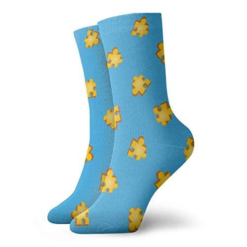 Banjo Kazooie Jiggy Puzzle Piece Pattern Calcetines de camisa Calcetines cortos deportivos clásicos de ocio Adecuado para hombres, mujeres, calcetines deportivos, cómodos, transpirables, casuales, 30