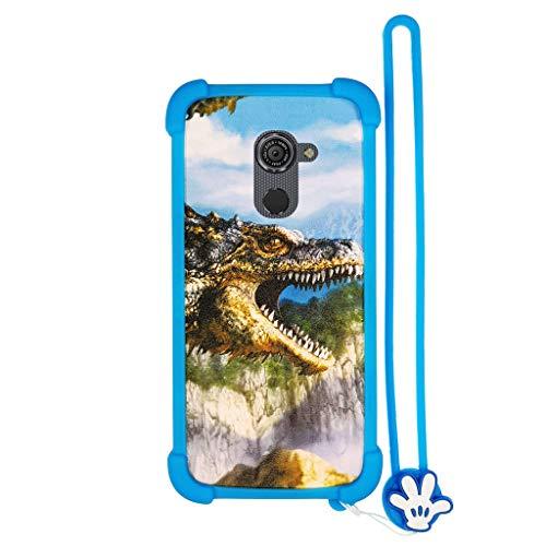 Custodia per vodafone Smart Platinum 7 Custodia Bordo del Silicone + PC Card Stand Case Cover L