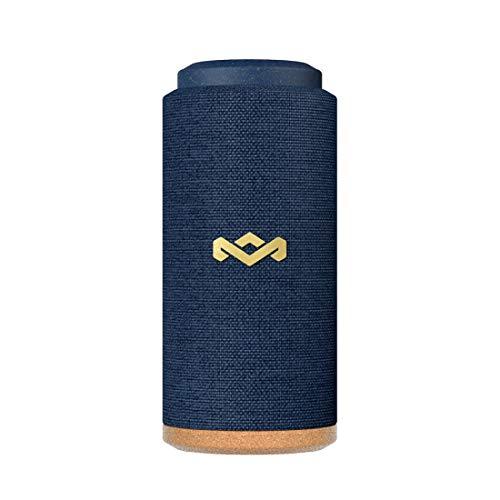 House of Marley No Bounds Sport Bluetooth Lautsprecher, wasserdicht, staubdicht & sturzsicher IP67, schwimmfähig, 12 Std Akku, Karabiner, Schnellladung, 360° Sound, Dual Pairing, Mikrofon, blue