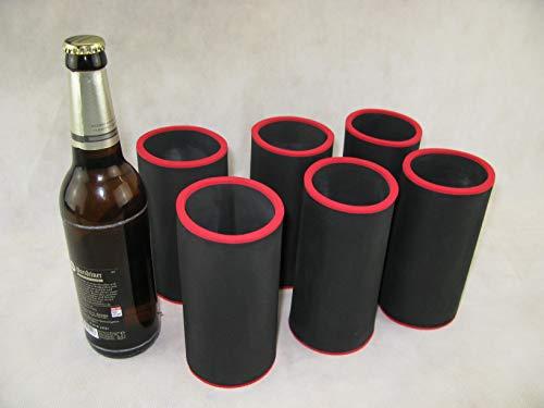 asiahouse24 6er Set Getränkekühler 0,5l Flasche - Bierkühler - Neoprenkühler - passgenau ~Flaschenkühler~ für alle genormten 0,5l Bierflaschen aus hochwertigen 5-6mm starken Neopren (schwarz)