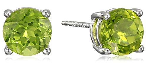 Amazon Essentials - Pendientes de tuerca de plata de ley con piedra de nacimiento genuina o de corte redondo ,Verde