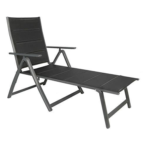 FineHome Luxus Gartenliege Relaxliege Sonnenliege Relaxliege Liege gepolstert schwarz 6-Fach klappbar verstellbar