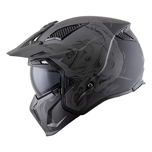 Tanamy Casco De Protección Integral para Motocicleta, Jóvenes Motocross para Adultos Rally Street Riding Dirt Bike ECE Certified Quad Unisexo Off Road Moto 3/4 Medio Casco con Mentón Extraíble,XXL