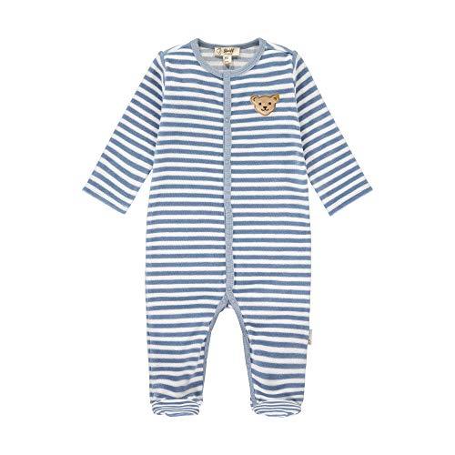 Steiff Baby-Unisex mit süßer Teddybärapplikation Strampler GOTS, Stonewash, 068