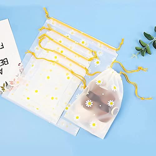 LYMHGHJ 10 Pezzi Borse da Viaggio Impermeabili in plastica Trasparente Satinato 5 Dimensioni Borse per Vestiti Borse per Scarpe Borsa per bagattelle, Custodia per Guardaroba Borse con Coulisse Salva