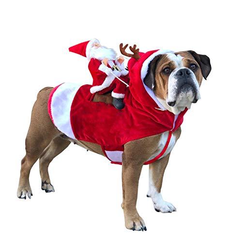 Petalum Weihnachten Hundebekleidung Hunde Weihnachtskostüm Haustier Welpen Kostüm Katze Cosplay Weihnachtsmann Rentier Pullover Kapuze Mantel Geschenk