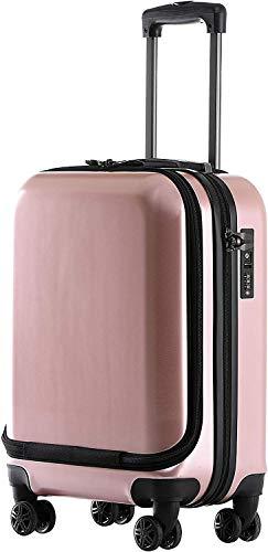 MÜNICASE - Außentasche Handgepäck TSA Schloß Businesstrolley Koffer Trolley Rollkoffer (Rosagold)
