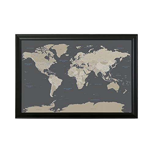 Push Pin Travel Maps Earth Toned World with Black Frame and Pins - 27.5 inches x 39.5 inches