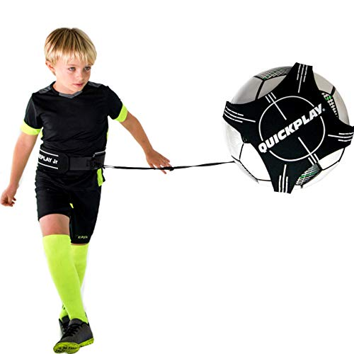 QUICKPLAY Replay Junior Solo Soccer Trainer | Hands-Free Adjustable Solo Soccer Rebounder – Fits Balls 3, 4, and 5 [Soccer Ball not Included]