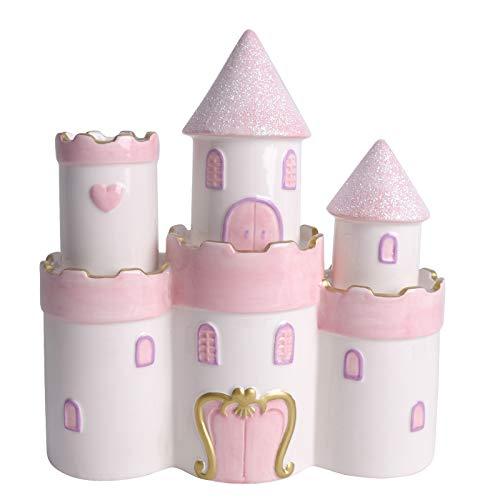 Vencer Ceramic Princess Castle Piggy Bank for Girls, Pink,VTM-01