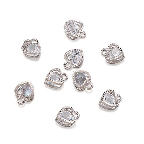 PandaHall 100pcs Cubic Zirconia Heart Charms Pendants Crystal Rhinestone Dangle Charms with Platinum Metal Frame for DIY Necklace Earring Jewelry Making