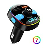 Bluetooth FM Transmitter, ZeaLife Bluetooth 5.0 Auto FM Transmitter QC3.0 Auto Radio Adapter mit 7...