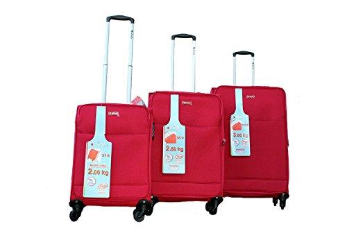 Super ultraleggero Dielle set di valgie - 1x Grande Trolley, 1x Medio Trolley, 1x trolley bagaglio a mano cabina - Rosso - 100% Poliestere - Lucchetto TSA ...