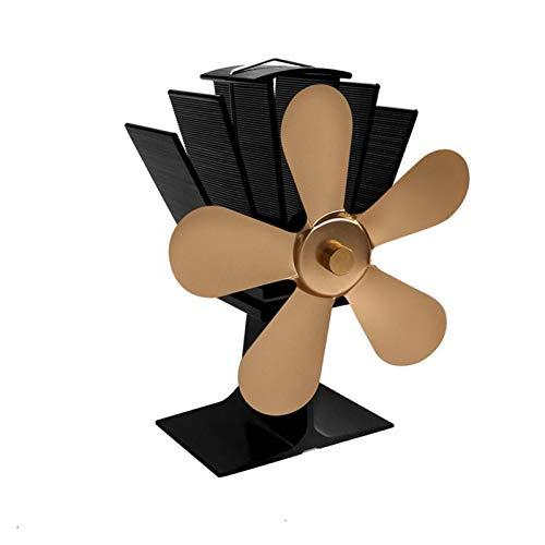 LQHZ Kaminventilator Neue Ankunft 5 Klingen Wärmebetriebene Herd Fan Home Stumm Wärmedosierte Herd Fan Ultra Ruhigholz Herd Fan Kaminventilator Automatische Drehung (Color : Gold)