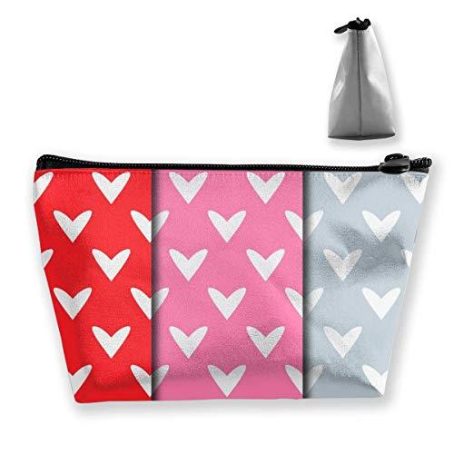 Trousse de toilette multifonction avec fermeture éclair trapézoïdale et motif cœur, rouge, rose, gris
