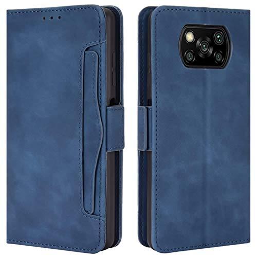 HualuBro Handyhülle für Xiaomi Poco X3 NFC Hülle, Poco X3 Pro Hülle Leder, Flip Hülle Cover Stoßfest Klapphülle Handytasche LederHülle Schutzhülle für Xiaomi Poco X3 NFC Tasche (Blau)