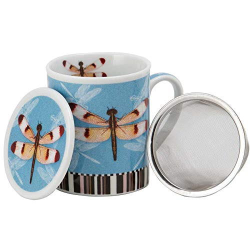 Aromas de Té - Taza de Té con Filtro y Tapa/Tisana Infusiones y tes de Porcelana con Infusor de Acero, Diseño Libélula