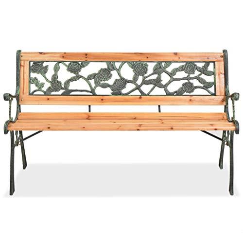 Gartenbank aus Holz, Bank aus Holz und Eisen, mit Rückenlehne mit Rosen-Druck, Gartenbank, für den Außenbereich, 122 x 51 x 73 cm