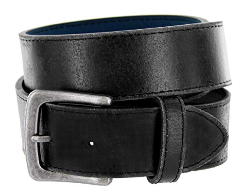 Men's Vintage Leather Casual Jean Belt for men 1-1/2' Black Brown
