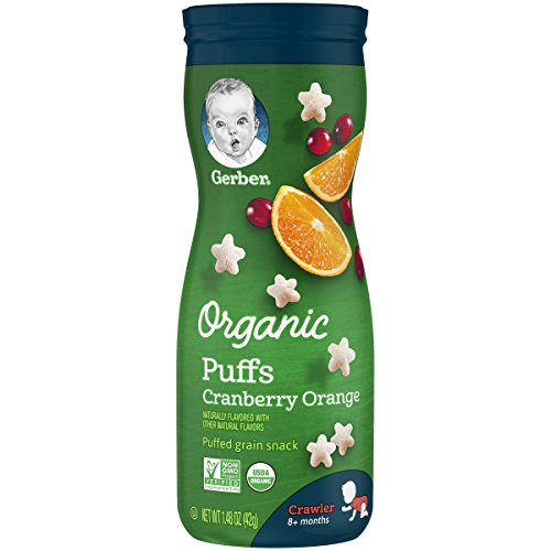 Gerber Organic Puffs Cereal Snack, Cranberry Orange, 1.48 Ounces, 6 Count