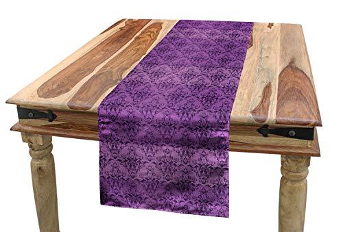 ABAKUHAUS Wijnoogst Tafelloper, Rococo Paars Damast, Eetkamer Keuken Rechthoekige Loper, 40 x 180 cm, Violet en Dark Purple