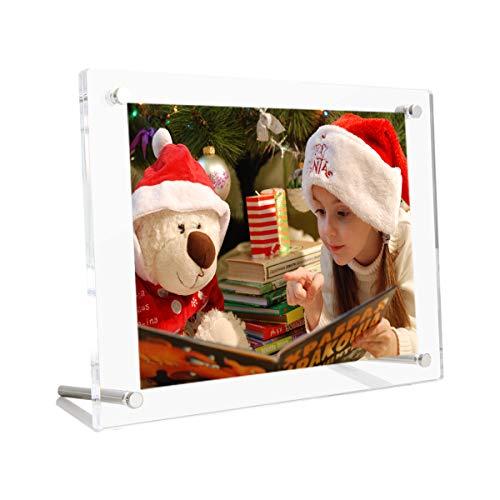 HIIMIEI Bilderrahmen 13x18 cm Transparente Acryl Desktop Fotorahmen, Abgeschrägtes Rahmenloses Plexiglas Foto Fotografie Display mit Halterung