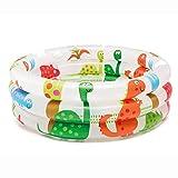 NAWXC Baby Pool Outdoor Indoor Swim, Schwimmende Aufblasbare Runde Dinosaurier Vulkan Print Kunststoff Für Baby Pool Für Kinder, Sparen Sie Platz Und Einfach Zu Bedienen