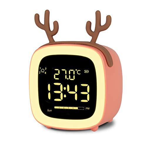 Kinderwecker Kinder Lichtwecker, NATPOW Digitaler Wecker LED Wecker Kinder 12/24 Stunden Digitaluhr Nachttischlampe LED Wecklicht Nachtlichtlampe mit Temperatur Woche Daten Countdown Orange