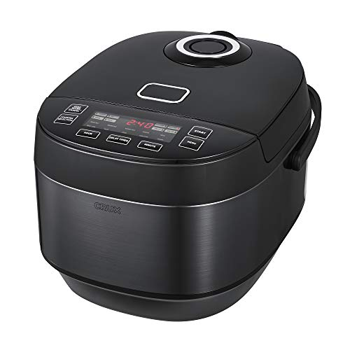 CRUX 20 Cup Induction Rice Cooker Multi-Cooker Food Steamer Slow Cooker Stewpot Easy One-Pot Healthy Meals Dishwasher Safe Non-Stick Bowl Black