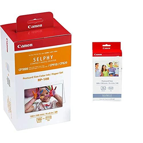 Canon Tinta Original Multipack Rp-108 Tinta Color + Papel Fotografico Imprime Hasta 108 Impresiones + KP-36IP Pack de papel fotográfico y tinta (36 hojas, 4x6%22, 100 x 148 mm)