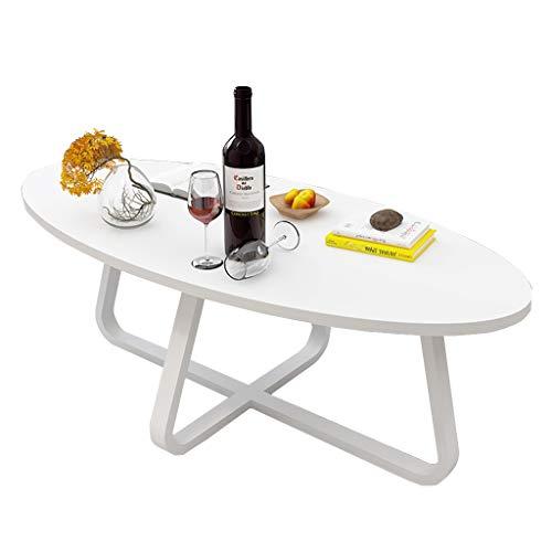 KangJZ-Tables KJzhu Balkon Couchtisch, Esstisch/Oval/Multifunktions/Studiertisch/nzimmer/Esszimmer/Schlafzimmer/Teetisch Groß (Farbe : Weiß)