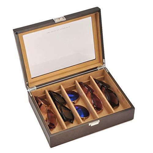 CHUTD Organizador de Gafas de Sol de 12', Caja de exhibición de Almacenamiento de Gafas de Sol de Madera de 5 Ranuras con Ventana de Vidrio, para Varios Vasos, Monedas, coleccionables