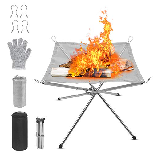 Dcola Portable Camping Fire Pit Stainless Steel Mesh Fireplace,Outdoor BBQ Fire Pit with a Glove for Patio, Backyard and Garden