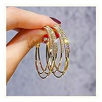 ファッションイヤリング 新しいフープイヤリング女性の気質ネット赤誇張された雰囲気のイヤリングの高レベルの純銀のイヤリングの潮 イヤースタッドジュエリー (Color : A)
