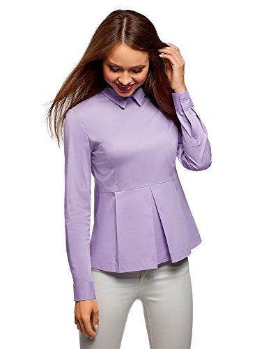 oodji Ultra Mujer Blusa de Algodón con Volante, Morado, ES 44 / XL