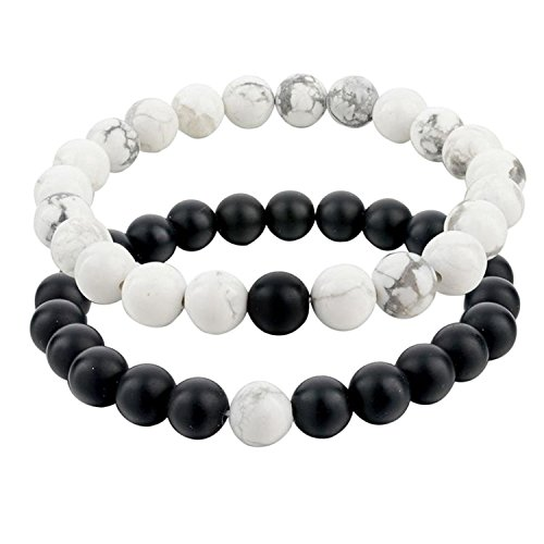 Bodhi2000, set di 2 bracciali della distanza per la coppia, uno in agata nera opaca e uno in aulite bianca, perline di 8mm