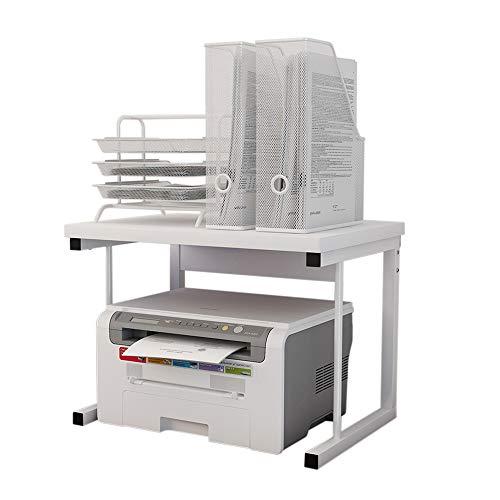 プリンター台 卓上収納 机上プリンター棚 多機能 食器棚 電子レンジ上ラック レンジ上ラック レンジボード 2段式 大容量 キッチン収納棚 デスクオーガナイザー 耐荷重25kg (白, I)