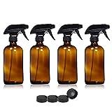 Iycorish 4 Pezzi 500ml Bottiglie Vetro Vuoto Grilletto Spruzzatori Acqua Atomizzatore Contenitore Bottiglia Olio Marrone