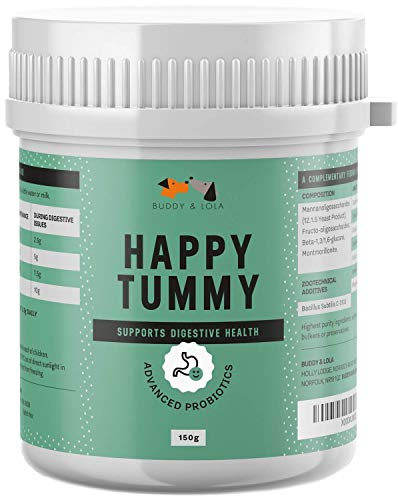 Buddy & Lola Happy Tummy Dog Probiotic - Daily Digestive Support with Probiotics, Prebiotics, Enzymes, Fibre, Amino Acid. Helps Digestive Disorders and Loose Stools in Dogs and Cats