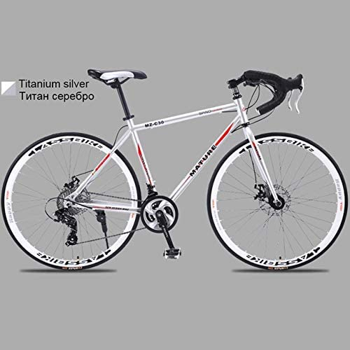 XSLY 700c Aluminum Alloy Road Bike 21 27and30speed Road Bicycle Two-disc Sand Road Bike Ultra-Light Bicycle Portable Adult Variable Speed Dual Disc Brake Cycling Racing (Color : 27 Speed S)