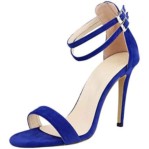 Wealsex sandalias Mujer Verano 2019 Tacon Correa de Tobillo Hebilla Gamuza Sexy Tacones Altos Zapatos (Azul,36)