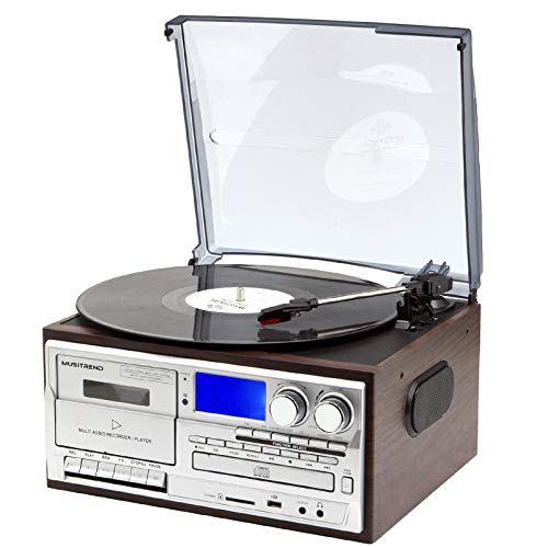 Musitrend Record Player 8 in 1 3 Speed Bluetooth Vintage Turntable CD Cassette Vinyl Player AM/FM Radio USB Recorder Aux-in RCA Line-Out