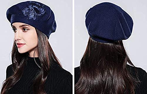 DWcamellia-hat Hut Strickmütze Frauen Beret Elegante Blume Herbst Winter Gestrickt weiblichen Hüte Caps-Navy_Blau