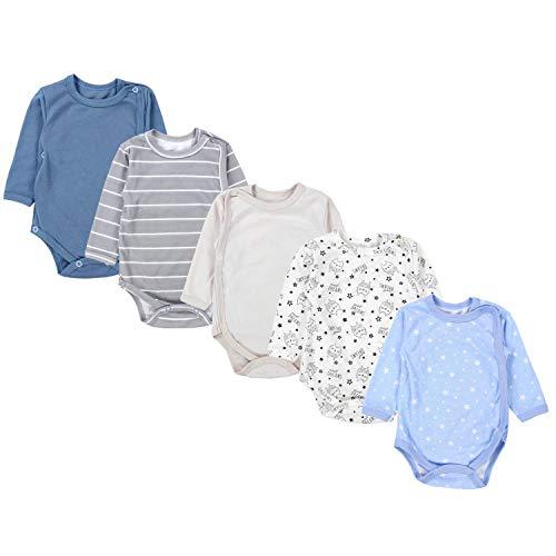 TupTam Baby Unisex Langarm Wickelbody im 5er Set, Farbe: Junge 2, Größe: 80